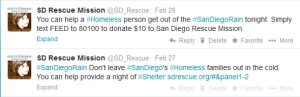 Example of tweets during #SanDiegoRain storm
