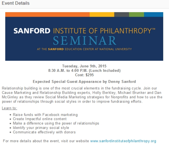 Sanford Institute of Philanthropy June Seminar